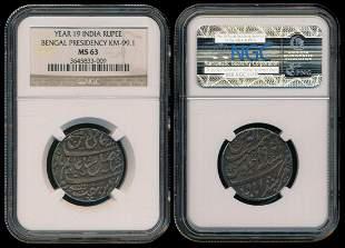 India British India Rupee Yr 19 silver NGC
