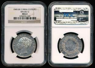 India British India QV Rupee 1840(b) NGC
