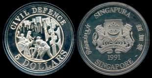 Singapore $5 1991 Civil Defense silver proof