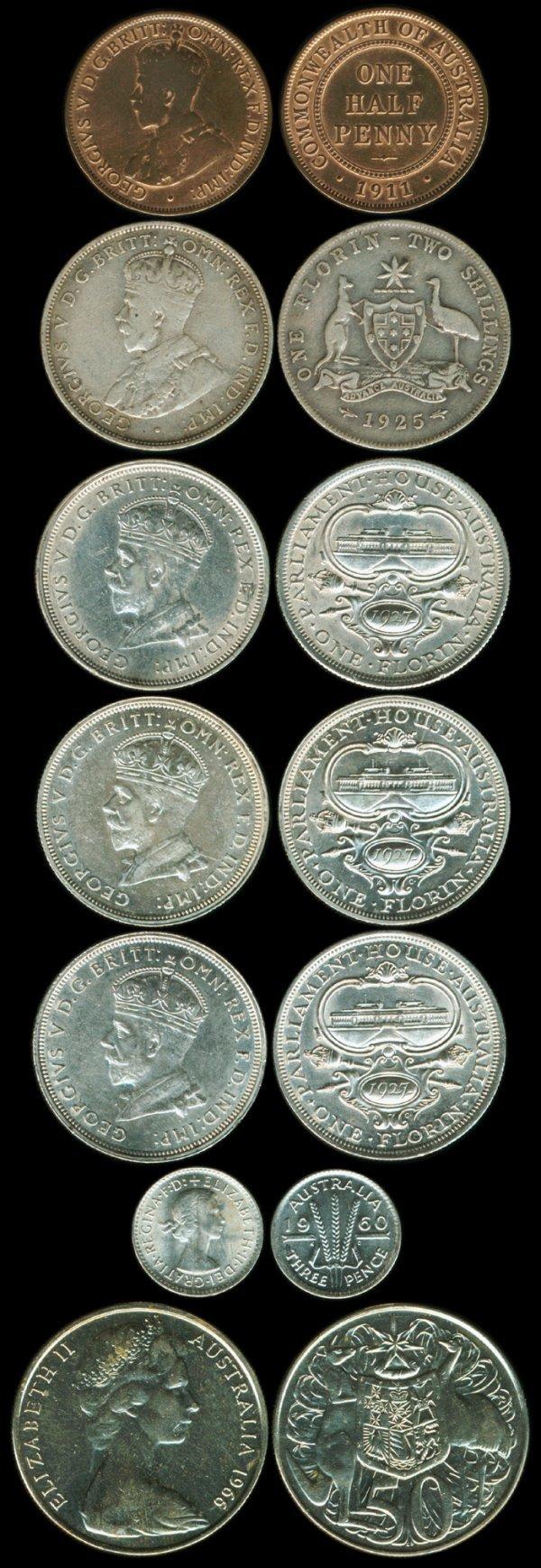 2: 7 Australia KGV QEII 1/2P-Florin 1911-1960