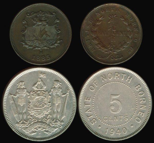 5: Br North Borneo 1/2C 1885H  5C 1940H EF