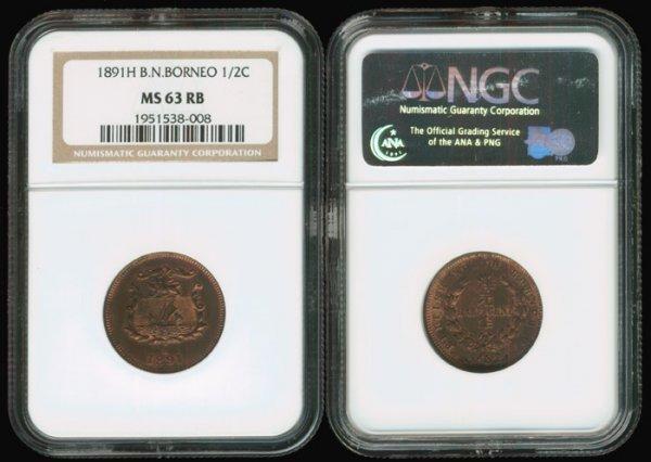 8: Br North Borneo 1/2C 1891H NGC MS63RB