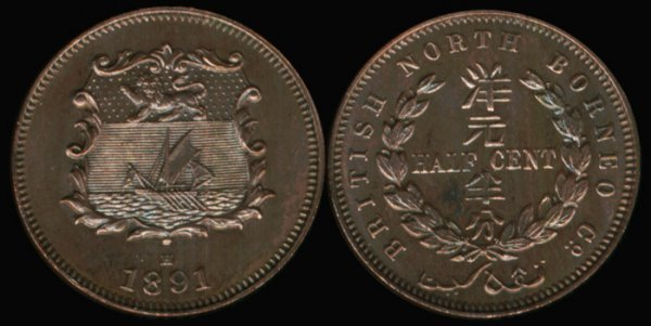 9: Br North Borneo 1/2C 1891H Ch UNC