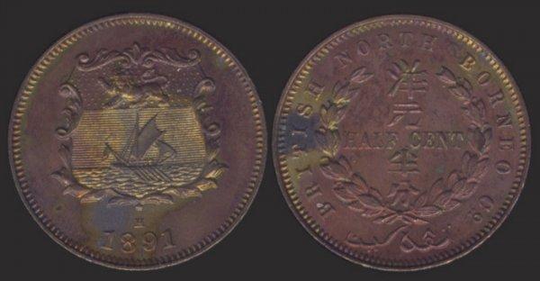 11: Br North Borneo 1/2C 1891H AU