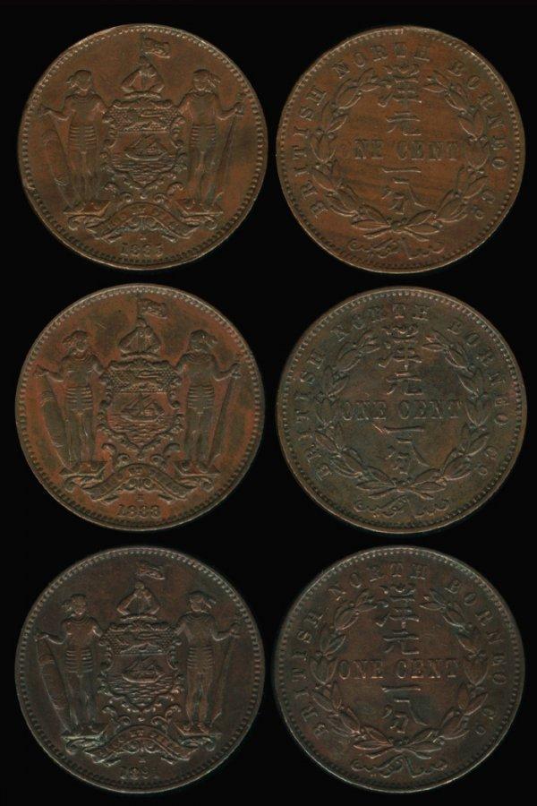 12: Br North Borneo Cent 1885H 1888H 1891H (3)
