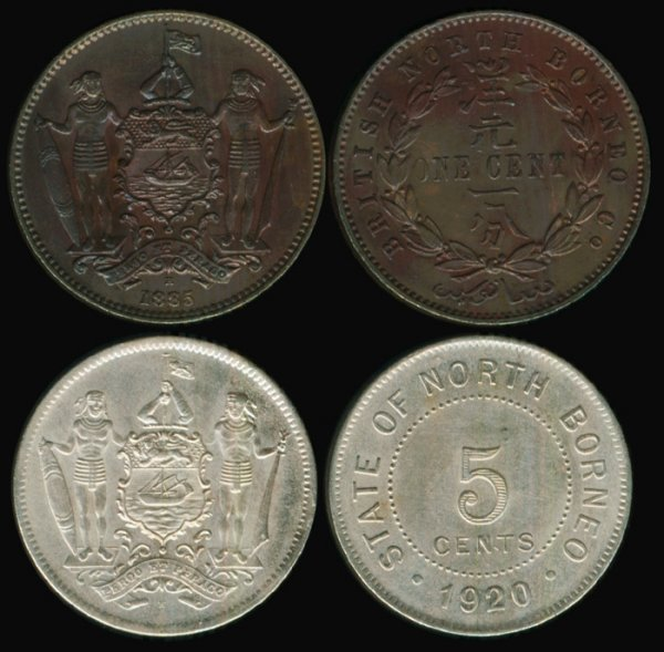 13: Br North Borneo Cent 1885H 5 Cents 1920H EF