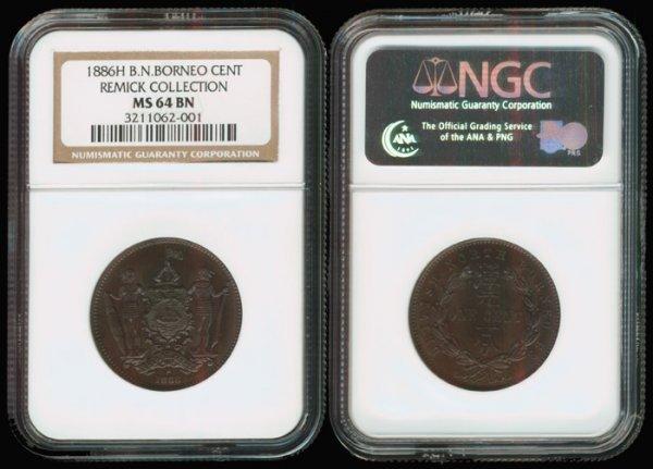 14: Br North Borneo Cent 1886H NGC MS64BN