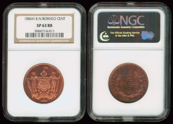 15: Br North Borneo Cent 1886H NGC SP63RB