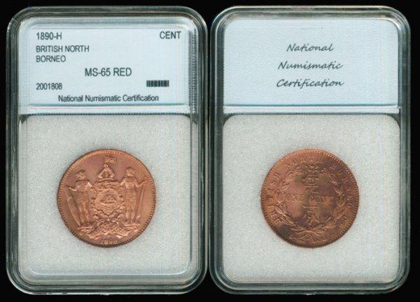 18: Br North Borneo Cent 1890H NNC MS65RED