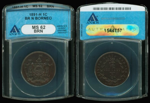 19: Br North Borneo Cent 1891H ANACS MS62BRN