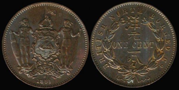 21: Br North Borneo Cent 1891H UNC