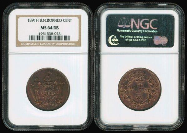 22: Br North Borneo Cent 1891H NGC MS64RB