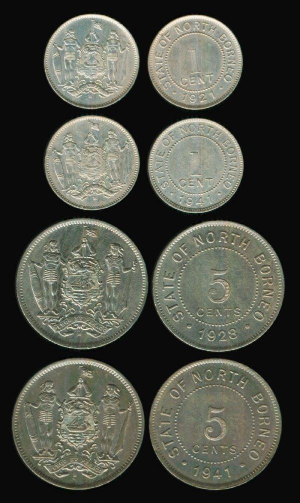 24: 4 Br North Borneo 1C 5C 1921H 1928H 1941H