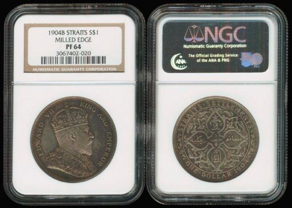 299: Straits Settlements KEVII $1 1904B NGC PF64