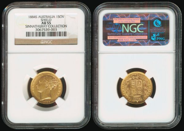 1: Australia QV Sovereign 1884S gold NGC AU55