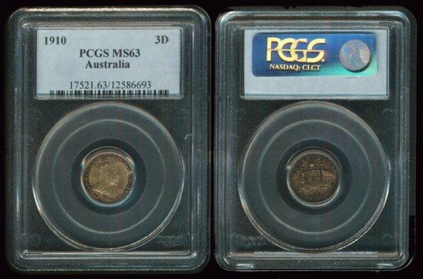 2: Australia KEVII 3 Pence 1910L PCGS MS63