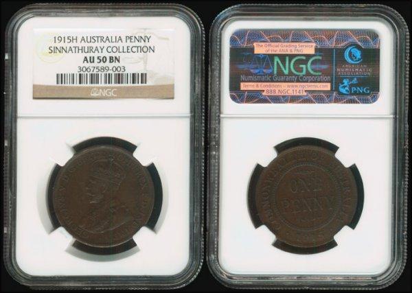 6: Australia KGV 1P 1915H NGC AU50BN