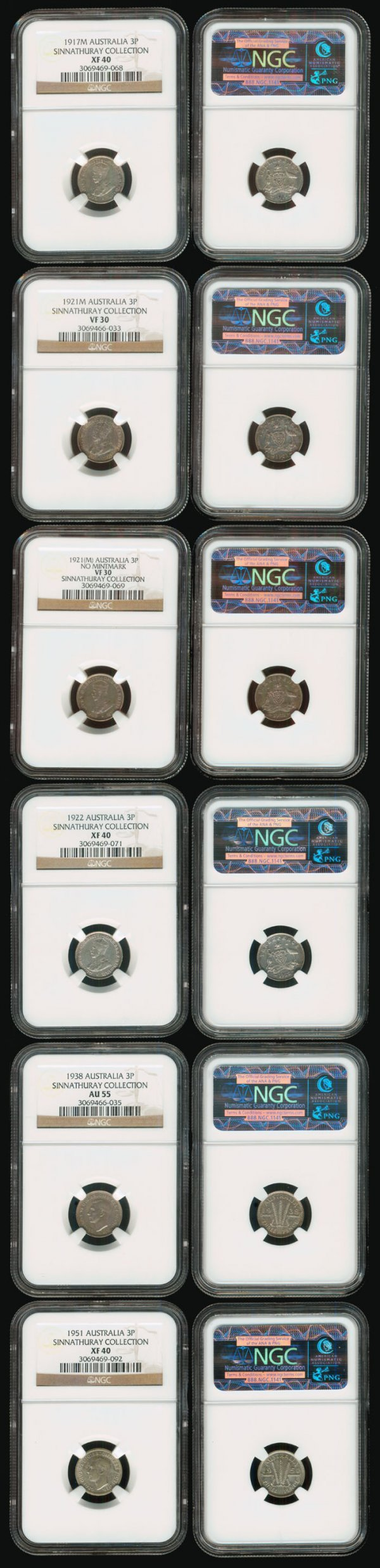 7: 6 Australia KGV KGVI 3P 1917M-51 all NGC