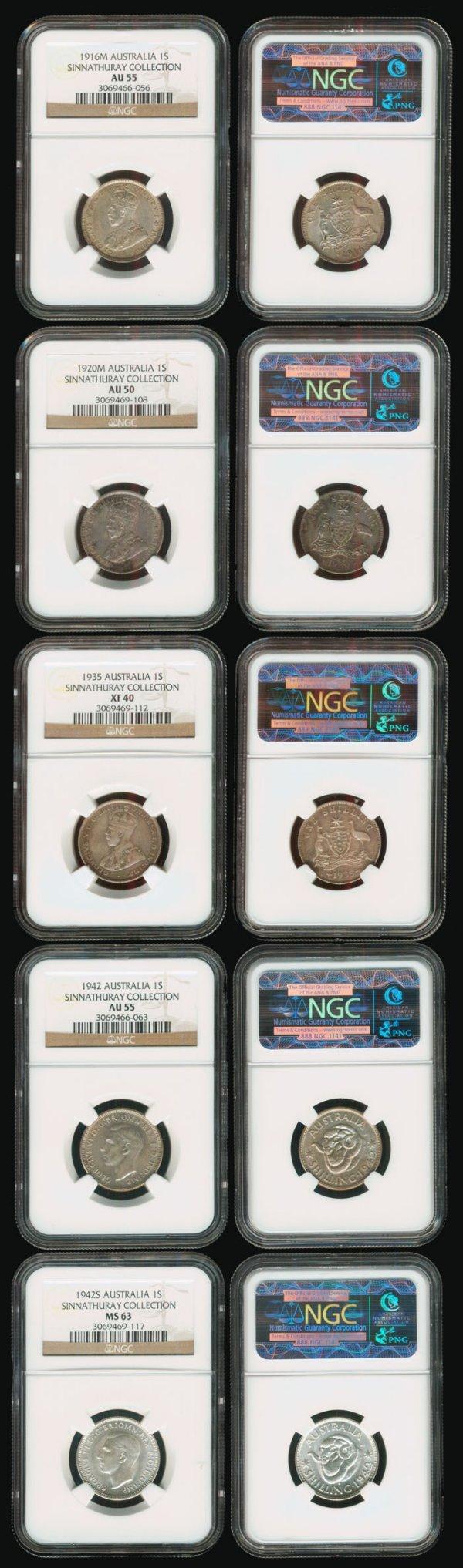 10: 5 Australia KGV KGVI 1S 1916-42 all NGC