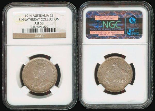 11: Australia KGV 2 Shillings 1914 NGC AU50