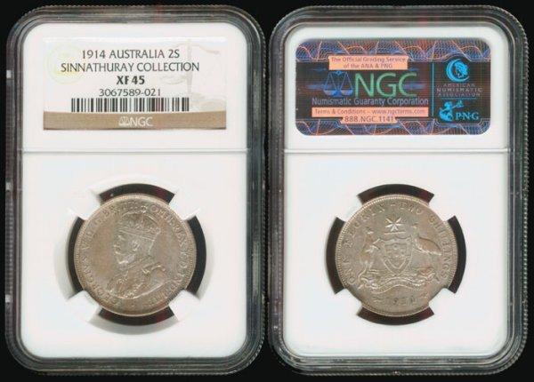 12: Australia KGV 2 Shillings 1914 NGC XF45