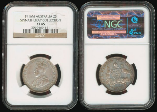13: Australia KGV 2 Shillings 1916M NGC XF45