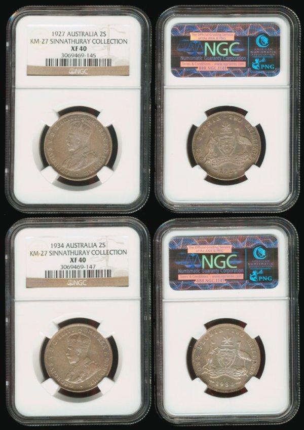 14: 2 Australia KGV 2S 1927-34 both NGC XF40