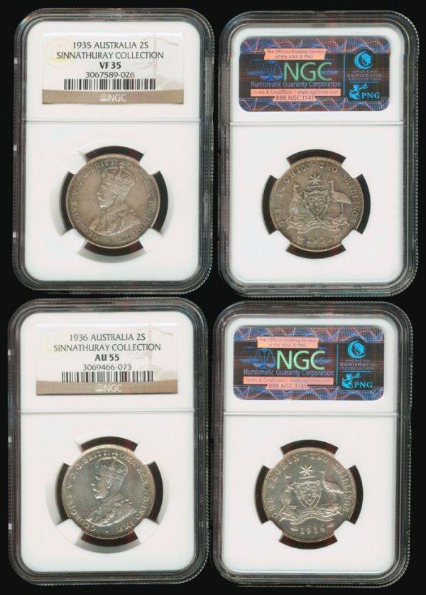 16: Australia KGV 2S 1935 VF35 1936 AU55