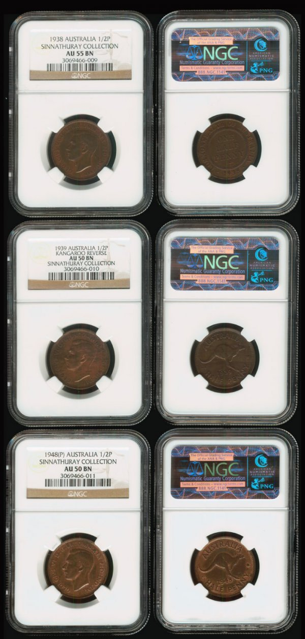 17: 3 Australia KGVI 1/2P 1938-48 all NGC