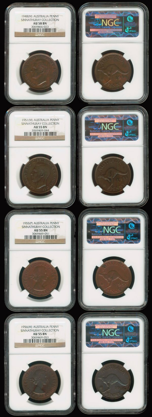 18: 4 Australia KGVI QEII 1P 1948-56 all NGC
