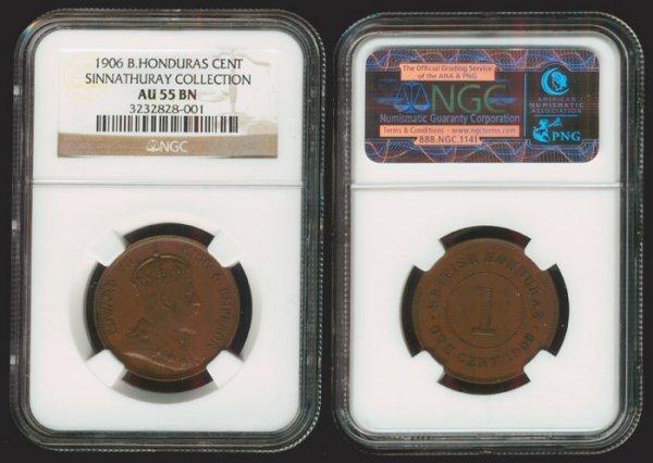 19: British Honduras KEVII Cent 1906 NGC AU55BN