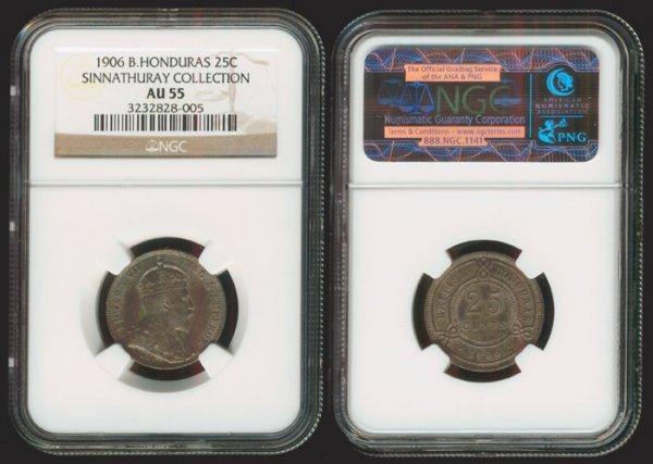 20: British Honduras KEVII 25C 1906 NGC AU55