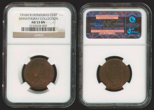 21: British Honduras KGV 1c 1916H NGC AU53BN