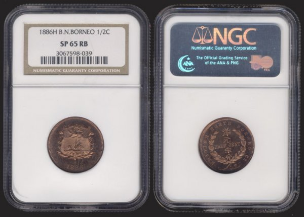 23: Br North Borneo 1/2c 1886H NGC SP65RB