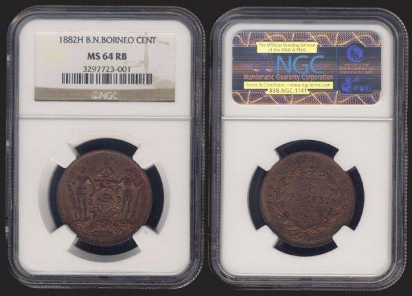 24: Br North Borneo 1c 1882H NGC MS64RB
