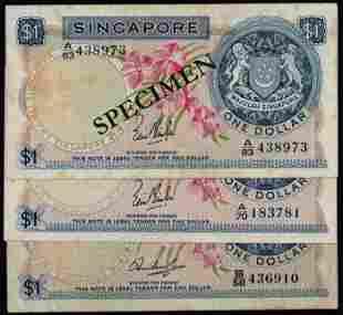 Singapore 3x$1 1967-72