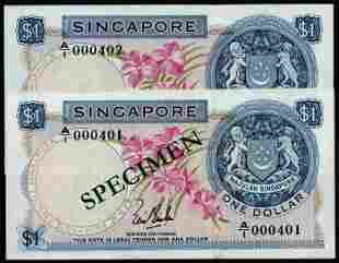 Singapore 2x$1 1967 LKS 1st prefix