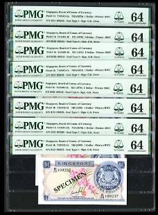 Singapore 10x$1 1970 GKS PMG