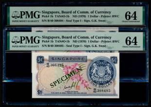 Singapore $1 1970 GKS PMG