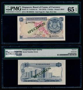 Singapore $1 1972 HSS w/seal error PMG