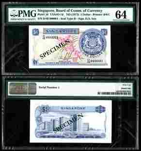 Singapore $1 1972 HSS w/seal D/49 000001 PMG