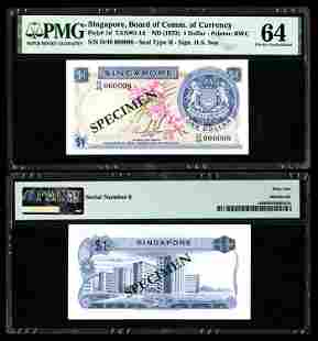 Singapore $1 1972 HSS w/seal D/49 000008 PMG