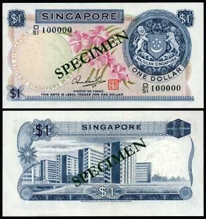 Singapore $1 1972 HSS w/seal D/51 100000