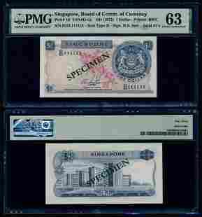 Singapore $1 1972 HSS w/seal D/53 111111 PMG