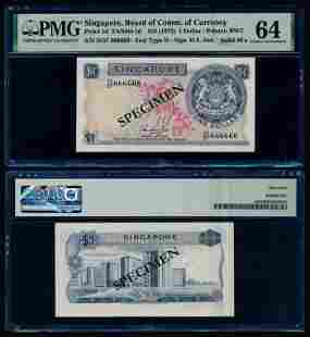 Singapore $1 1972 HSS w/seal D/57 666666 PMG