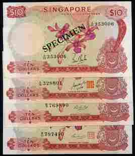 Singapore 4x$10 1967-73