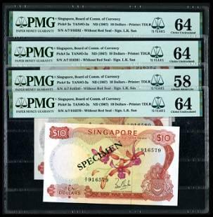 Singapore 4x$10 1967 LKS PMG