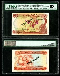 Singapore $10 1973 HSS w/seal B/86 333333
