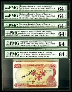 Singapore 10x$10 1973 HSS w/seal PMG