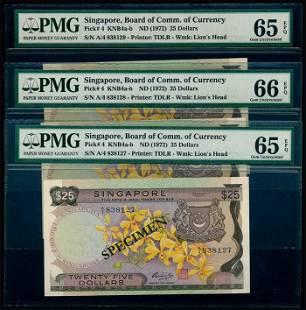 Singapore 3x$25 1972 PMG